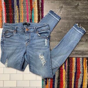 1822 Denim Distressed Raw Edge Skinny Jeans